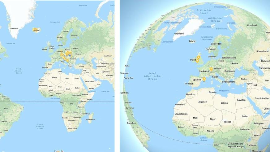 Flache Erde Karte Kaufen.Google Maps Stellt Die Erde Neu Als Kugel Dar Watson