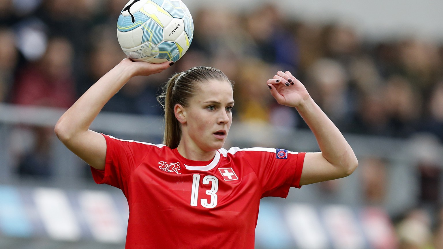 Switzerland's Ana-Maria Crnogorcevic during the UEFA Women's EURO 2017 qualifying soccer match between Switzerland and Italy at the Tissot Arena in Biel, Switzerland, Saturday, April 9, 2016. (KEYSTONE/Peter Klaunzer)
