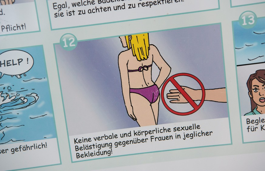 epa05098457 A flyer containing bathing rules seen in a swimming pool in Munich, Germany, 12 January 2016. The flyer explains, for instance, that women may not be sexually harrassed in any verbal or physical manner. The experience that swimming pools in Munich have made with these rules of conduct, written in Arabic among others, has been positive, triggering nationwide demand in the process.  EPA/SVEN HOPPE
