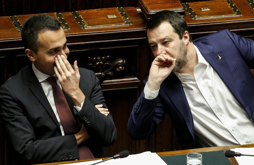 epa07367008 Italian Deputies Premier Matteo Salvini (R) and Luigi Di Maio during a Question Time at the Chamber of Deputies, in Rome, Italy, 13 February 2019.  EPA/FABIO FRUSTACI