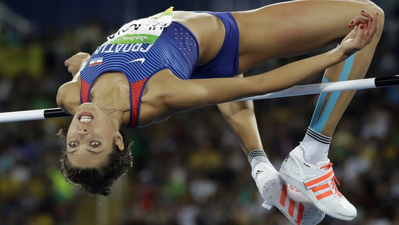 Croatia's Blanka Vlasic competes in the women's high jump final, during the athletics competitions of the 2016 Summer Olympics at the Olympic stadium in Rio de Janeiro, Brazil, Saturday, Aug. 20, 2016. (AP Photo/Matt Slocum)