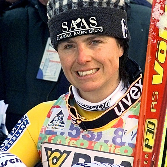 Second placed Swiss Heidi Zurbriggen smiles in the finish area of the women's World Cup supper G in Altenmarkt Zauchensee Sunday, Ja. 18 1998. (AP Photo/Rudi Blaha)