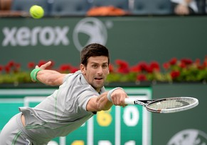 Mar 11, 2014; Indian Wells, CA, USA;    Alejandro Gonzalez (COL) during his match against Novak Djokovic (SRB) in the BNP Paribas Open at the Indian Wells Tennis Garden. Djokovic won 6-1, 3-6, 6-1.  Mandatory Credit: Jayne Kamin-Oncea-USA TODAY Sports