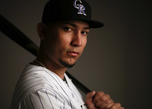 Colorado Rockies left fielder Carlos Gonzalez poses during the team photo day before a spring training baseball workout Wednesday, Feb. 26, 2014, in Scottsdale, Ariz.  (AP Photo/ Gregory Bull)