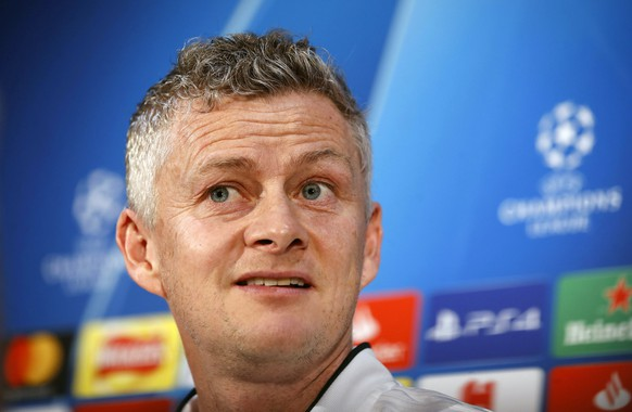 Manchester United caretaker manager Ole Gunnar Solskjaer during the press conference at Aon Training Complex in Manchester, England, Monday Feb. 11, 2019. Manchester United will play PSG in a Champions League match on Tuesday Feb.12. (Martin Rickett/PA via AP)