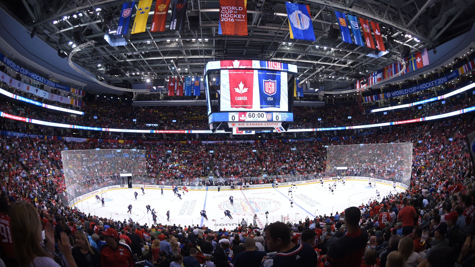 Sep 20, 2016; Toronto, Ontario, Canada;  A general view of the arena and stands prior to the opening faceoff of a preliminary round game between Team Canada and Team USA in the 2016 World Cup of Hockey at Air Canada Centre. Mandatory Credit: Dan Hamilton-USA TODAY Sports