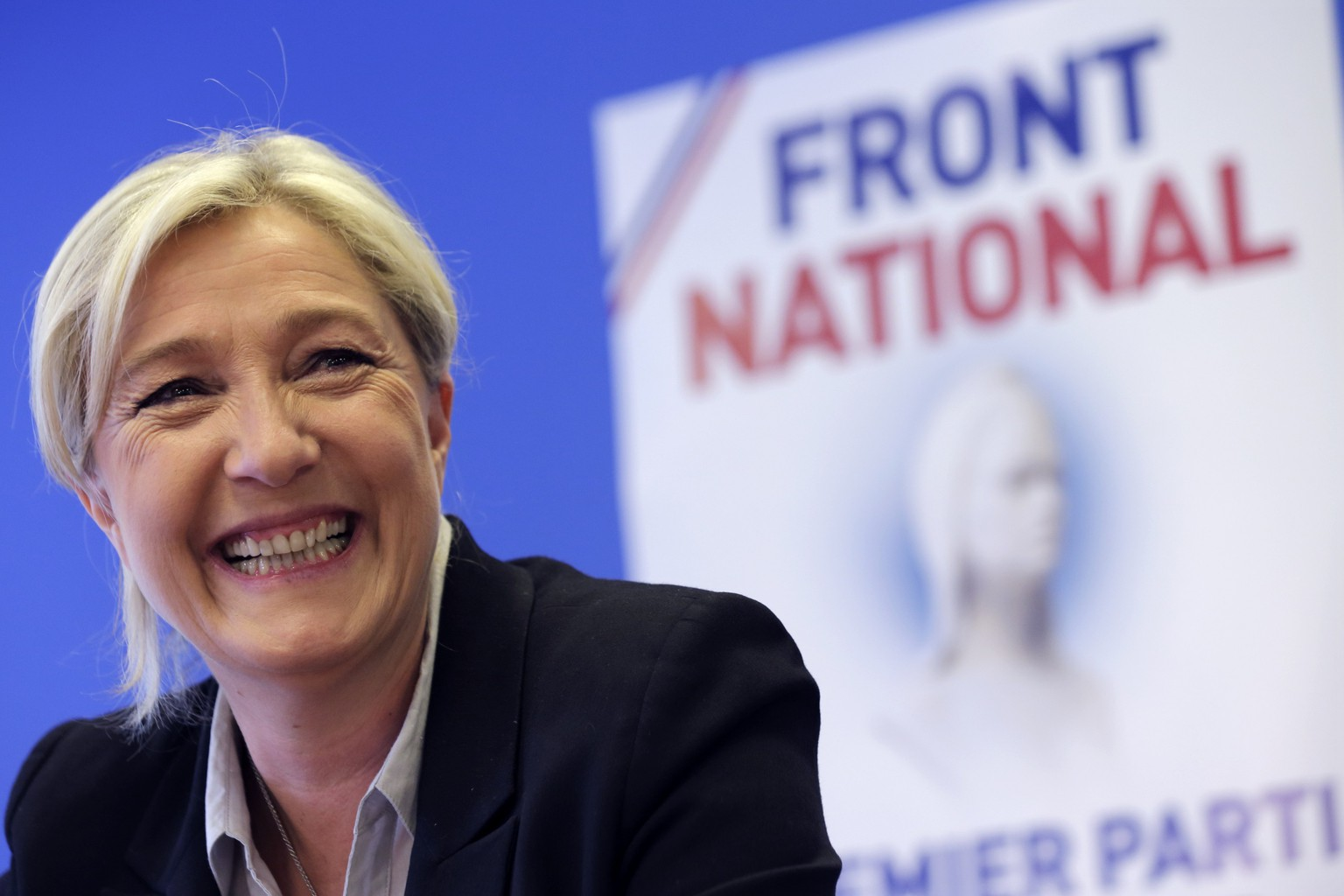 Marine Le Pen, France's National Front political party head, attends a news conference at the party's headquarters in Nanterre, near Paris, May 27, 2014. France's prime minister on Monday called the breakthrough by Marine Le Pen's anti-immigration, anti-euro National Front, which topped a national vote for the first time and pushed his Socialists into third place, a political