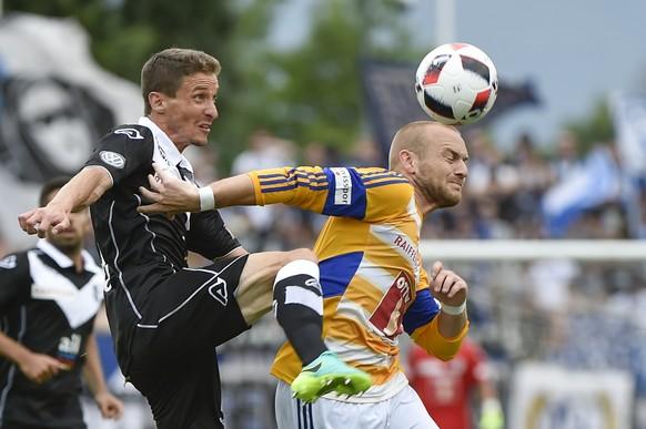 23.07.2016; Lugano; Fussball Super League - FC Lugano - FC Luzern;Fulvio Sulmoni (Lugano) gegen Marco Schneuwly (Luzern)(Martin Meienberger/freshfocus)