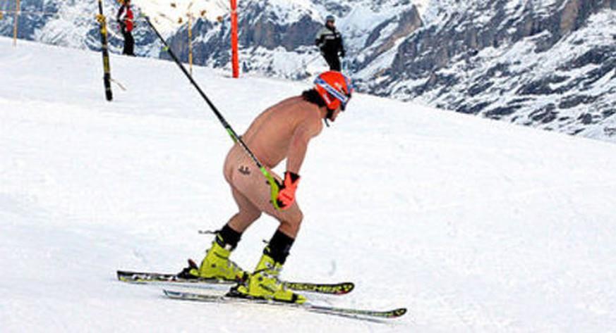Ski Rainer Schönfelder Rast Nackt Das Lauberhorn Hinunter Watson