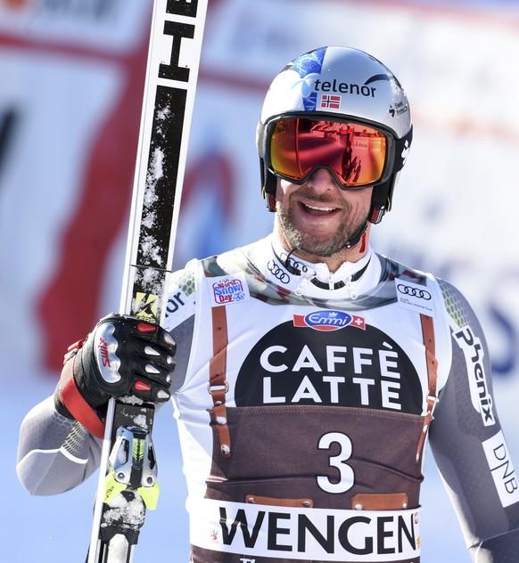 Norway's Aksel Lund Svindal celebrates during an alpine ski, men's World Cup downhill in Wengen, Switzerland, Saturday, Jan. 19, 2019. (AP Photo/Marco Tacca)
