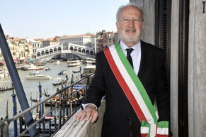 In this photo taken on April 8, 2010, Venice's Mayor Giorgio Orsoni is pictured at Ca Farsetti palace in Venice, Italy. Italian authorities Wednesday, June 4, 2014 have arrested the mayor of Venice and 35 others in a sweeping corruption investigation related to the construction of underwater barriers to protect the historic city from flooding. Italian financial police confirmed Mayor Giorgio Orsoni's arrest Wednesday but had no further details. The arrests were the result of a three-year investigation by the financial police that led to the arrest last summer of the head of the consortium building the ambitious but long-delayed system of so-called Moses barriers. Authorities say 20 million euros ($27 million) was diverted abroad for the purpose of bribing politicians. (AP Photo/Luigi Costantini)