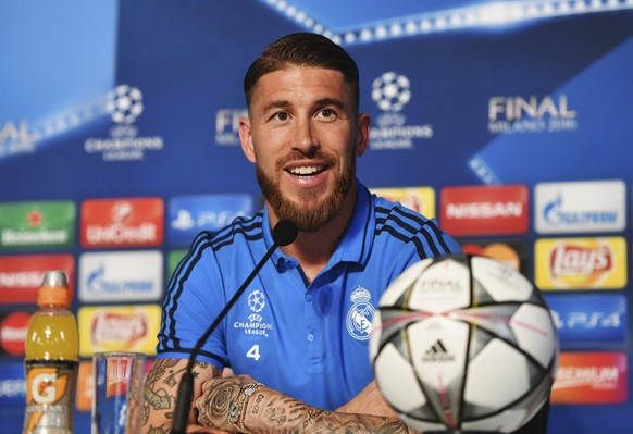 Football Soccer - Real Madrid Press Conference - San Siro Stadium, Milan, Italy - 27/5/16Real Madrid's Sergio RamosReuters / Pool Pic / UEFALivepicEDITORIAL USE ONLY.