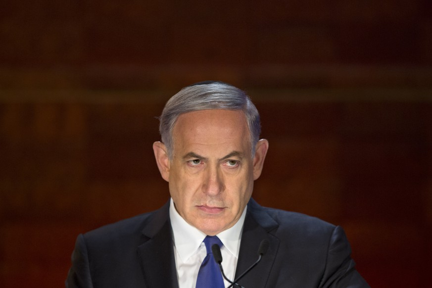 Israeli Prime Minister Benjamin Netanyahu looks on as he speaks at the opening ceremony of the Holocaust Remembrance Day at the Yad Vashem Holocaust Memorial in Jerusalem, Wednesday, April 15, 2015. (AP Photo/Sebastian Scheiner)