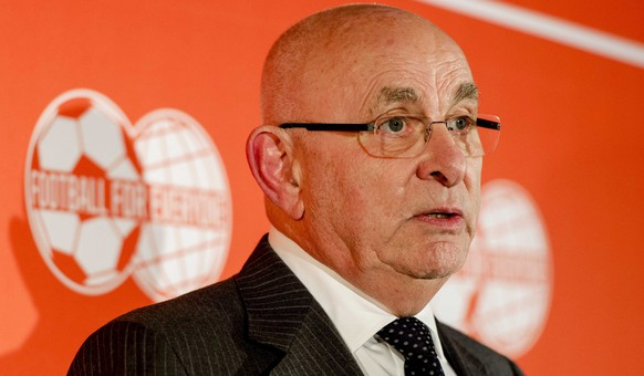 epa04644840 Chairman of the Royal Dutch Soccer Association (KNVB) Michael van Praag holds a press conference in Zeist, The Netherlands, 02 March 2015, where he gives an explanation on his campaign and the finance of his candidacy as FIFA President. Van Praag is one of three men challenging incumbent Joseph Blatter for the presidency along with  former Portugal, Real Madrid and Barcelona star Luis Figo and Jordan's Prince Ali bin Al Hussein. The election for FIFA president takes place on 29 May 2015.  EPA/ROBIN VAN LONKHUIJSEN