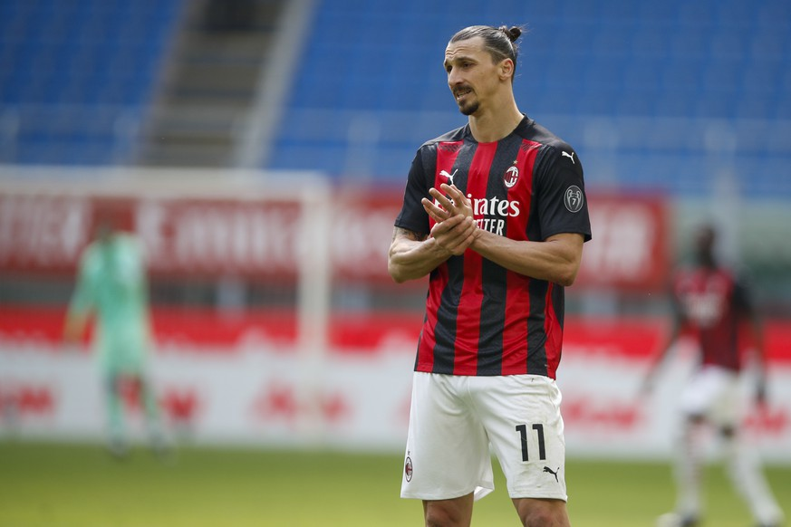 AC Milan's Zlatan Ibrahimovic looks on during the Serie A soccer match between AC Milan and Sampdoria at the San Siro stadium, in Milan, Italy, Saturday, April 3, 2021. (AP Photo/Antonio Calanni)