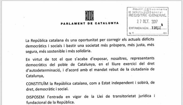 Vorlage katalanisches Parlament.