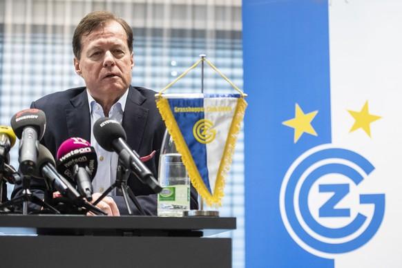 GC Praesident Stephan Rietiker spricht an einer Medienkonferenz zum gestrigen Abbruch des Fussballspiels gegen den FC Luzern und den Abstieg in die Challenge League, aufgenommen am Montag, 13. Mai 2019 in Zuerich. (KEYSTONE/Ennio Leanza)