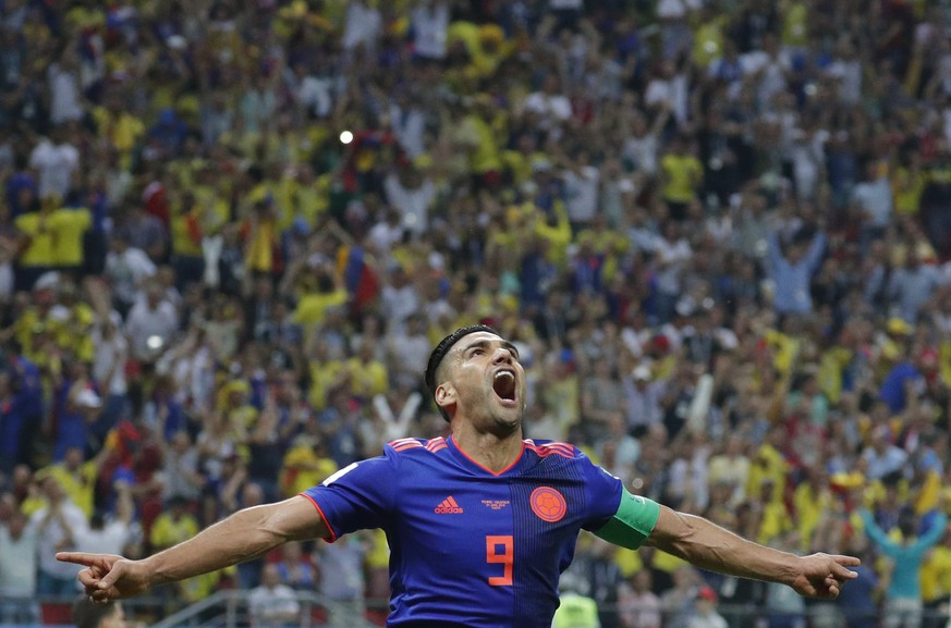 epaselect epa06837612 Radamel Falcao of Colombia celebrates after scoring the 0-2 goal during the FIFA World Cup 2018 group H preliminary round soccer match between Poland and Colombia in Kazan, Russia, 24 June 2018.