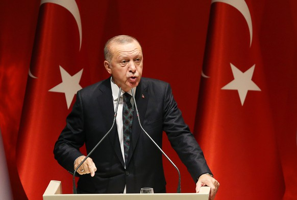 epaselect epa07909583 Turkish President Recep Tayyip Erdogan addresses provincial chairmans of ruling Justice and Development Party (AKP) in Ankara, Turkey 10 October 2019. Turkey has launched an offensive targeting Kurdish forces in north-eastern Syria, days after the US withdrew troops from the area.  EPA/STR