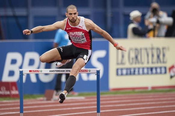 ALS VORSCHAU ZU DEN OLYMPISCHEN SOMMERSPIELEN IN RIO VOM 5. BIS 21. AUGUST 2016 STELLEN WIR IHNEN FOLGENDES BILDMATERIAL ZU DEN SCHWEIZER TEILNEHMERN UND TEILNEHMERINNEN  ZUR VERFUEGUNG - Swiss athlete Kariem Hussein runs during the 400m hurdles final at the 2016 European Athletics Championships in Amsterdam, Netherlands, Friday, 08 July 2016. The 2016 European Athletics Championships will be held in Amsterdam, Netherlands, from 06 until 10 July 2016. (KEYSTONE/Ennio Leanza)