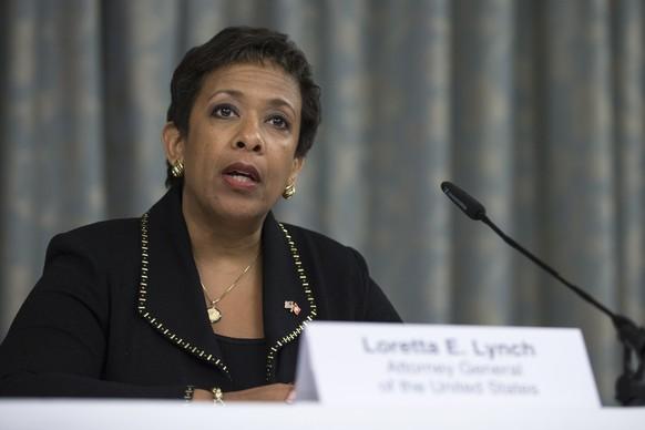 Zuerich, 14.9.2015, Justiz, Fussball, Medienkonferenz,  die US Generalbundesanwaeltin Loretta Lynch informiert zum Stand der Ermittlungen gegen die FIFA. (Dominik Baur/EQ Images)
