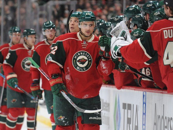 Mar 30, 2017; Saint Paul, MN, USA;  Minnesota Wild forward Nino Niederreiter (22) celebrates with teammates on the bench after scoring a goal during the first period against the Ottawa Senators at Xcel Energy Center. Mandatory Credit: Marilyn Indahl-USA TODAY Sports