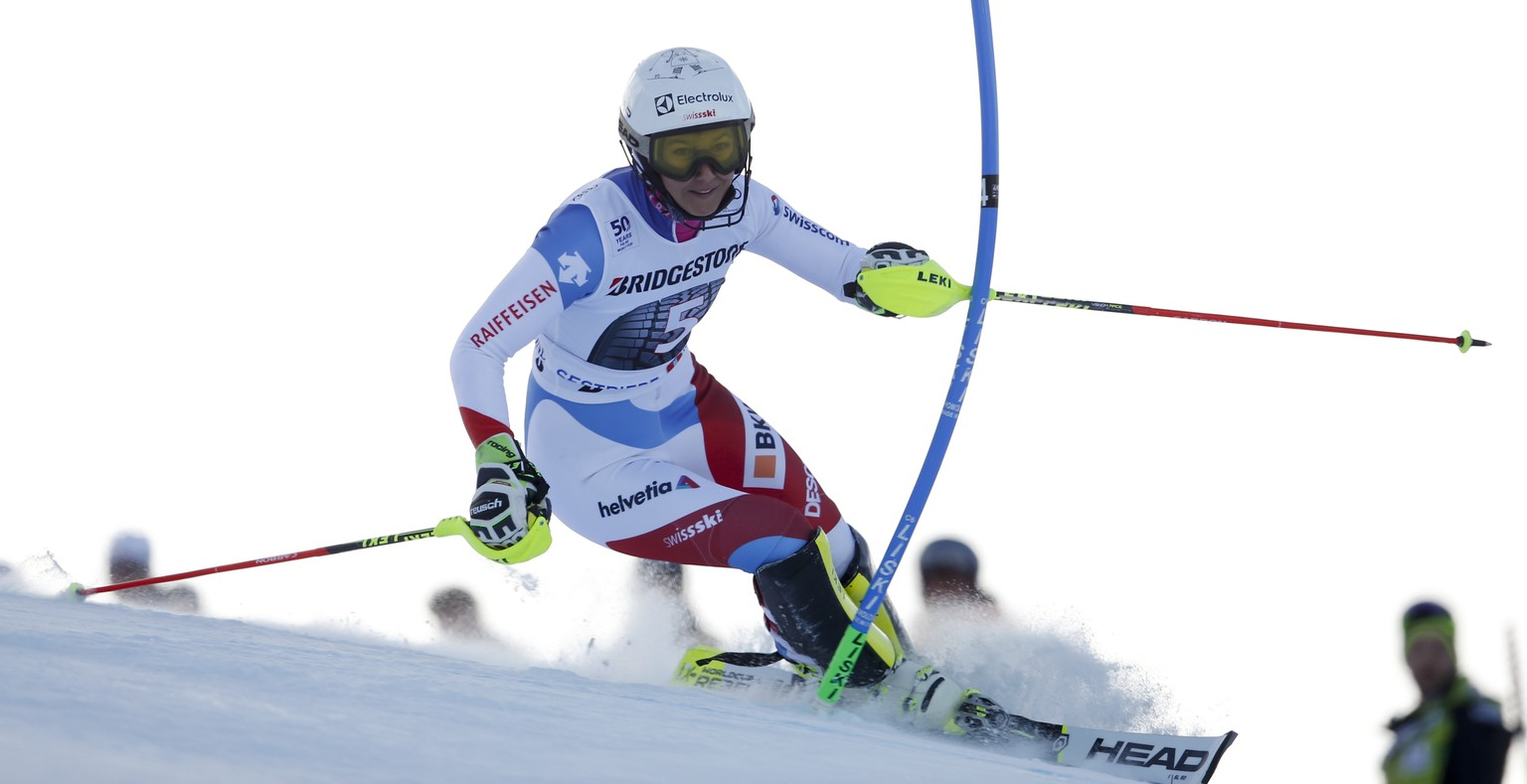 Switzerland's Wendy Holdener competes during an alpine ski, women's World Cup slalom, in Sestriere, Italy, Sunday, Dec. 11, 2016. (AP Photo/Marco Trovati)