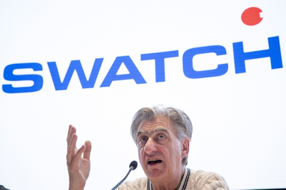 epa07436180 Nick Hayek, CEO Swatch Group, President of the Swatch Group Executive Management Board, speaks during a press conference on the year 2018 final results of Swiss watch company Swatch Group in Biel, Switzerland, 14 March 2019.  EPA/ANTHONY ANEX