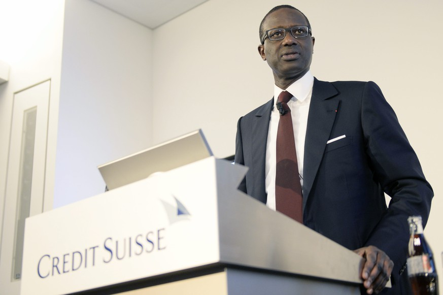 epa04656243 Tidjane Thiam, current head of British insurer Prudential, left, speaks during a press conference of Swiss Bank Credit Suisse in Zurich, Switzerland, 10 March 2015. The Board of Directors of Credit Suisse Group AG today has appointed Tidjane Thiam as the new CEO. He will take over this position from Brady W. Dougan, who will step down at the end of June 2015 after eight years as CEO of Credit Suisse Group.  EPA/WALTER BIERI