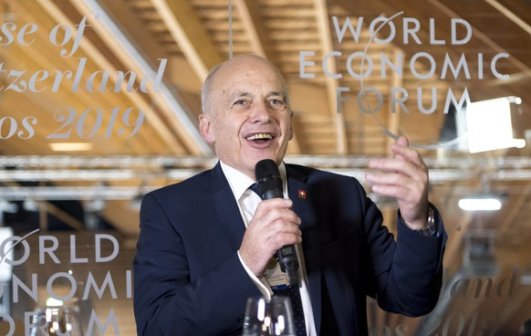Swiss Federal President Ueli Maurer speaks during the opening of The House of Switzerland, HOS, in the Vaillant Arena ice rink on the sideline of the first day of the 49th Annual Meeting of the World Economic Forum, WEF, in Davos, Switzerland, Tuesday, January 22, 2019. The meeting brings together entrepreneurs, scientists, corporate and political leaders in Davos under the topic