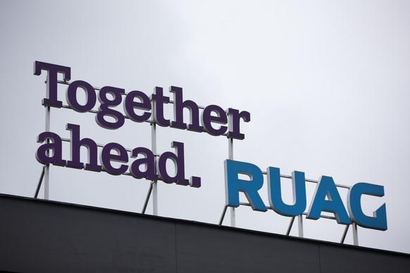 ARCHIVBILD ZUM STELLENABBAU BEI RUAG INTERNATIONAL, AM MONTAG, 12. OKTOBER 2020 - Das Logo der Ruag am Ruag-Standort in Emmen, aufgenommen am Dienstag, 22. Oktober 2019. (KEYSTONE/Peter Klaunzer)
