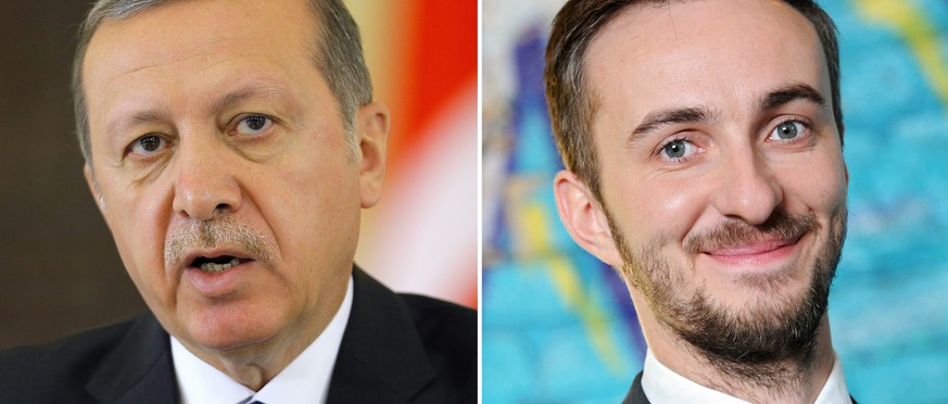 epa05254827 A composite picture made of file pictures shows Turkish President Recep Tayyip Erdogan during a press conference in Bucharest, Romania, 01 April 2015 (L) and German comedian and television host Jan Boehmermann posing in Berlin, Germany, 22 February 2012 (R).  Turkish President Erdogna on 11 April 2016 filed a request for prosecution against German satirist Boehmermann, the Mainz public prosecutor's office confirmed. German prosecutors had on 06 April 2016 initiated inquiries on Boehmermann on the suspicion of insulting representatives of foreign states. In his satirical TV show 'Neo Magazin Royale' which was aired on 31 March, Boehmermann declaimed an invective poem targeted at Turkish president Erdogan.  EPA/ROBERT GHEMENT