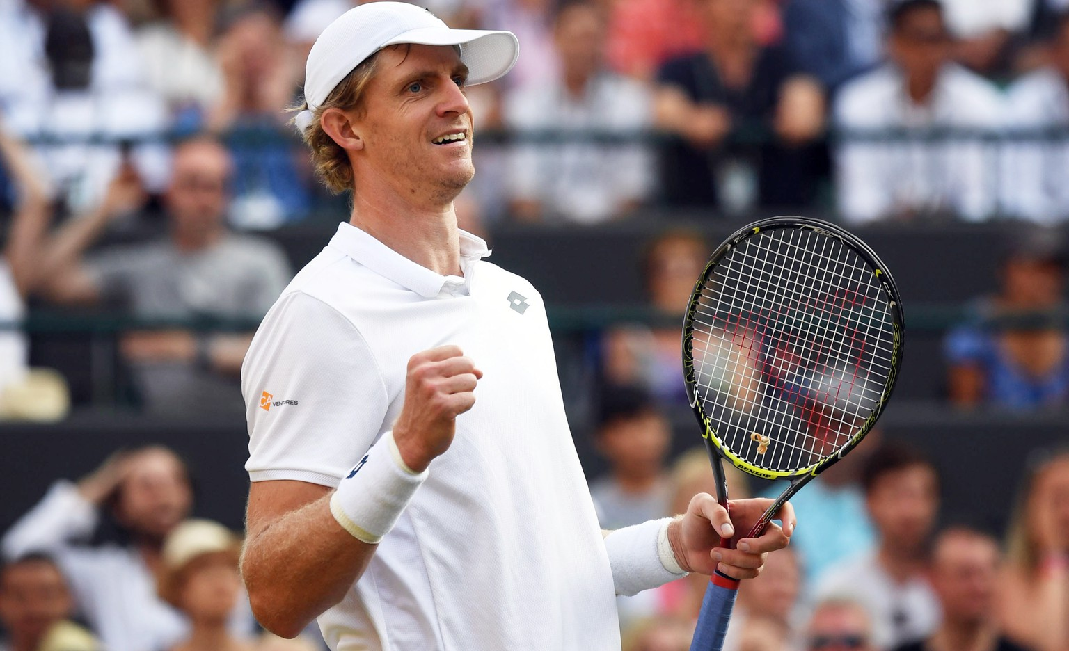 epa06876426 Kevin Anderson of South Africa celebrates his win over Gael Monfils of France in their fourth round match during the Wimbledon Championships at the All England Lawn Tennis Club, in London, Britain, 09 July 2018. EPA/GERRY PENNY EDITORIAL USE ONLY/NO COMMERCIAL SALES