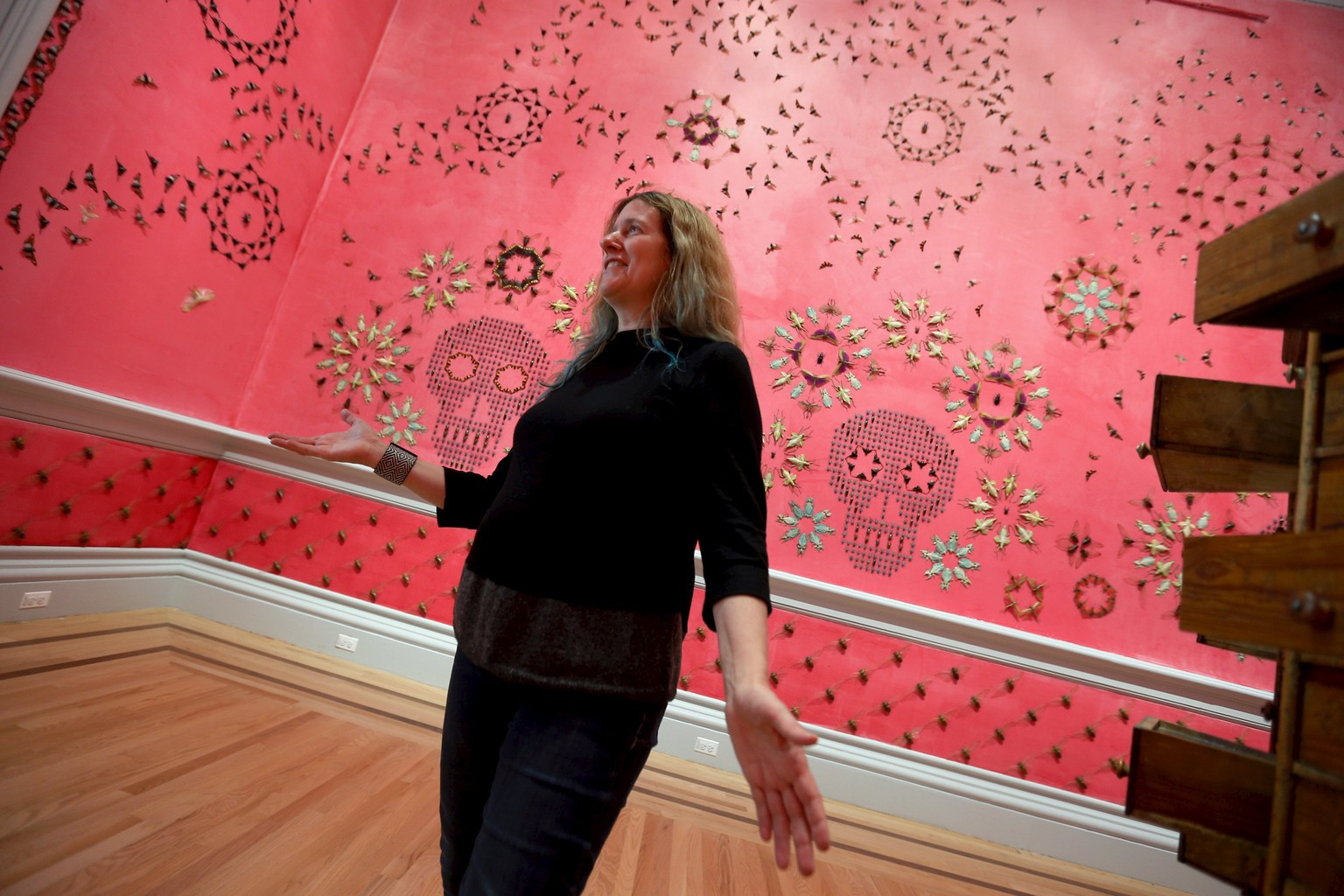 Jennifer Angus discusses her geometric wall covering created with specimens of insects, one of nine gallery-sized art installations to mark the reopening of the Smithsonian's Renwick Gallery in Washington November 11, 2015. The Renwick, which is the Smithsonian's museum dedicated to crafts and decorative arts, will reopen its doors Friday after an extensive two-year renovation. REUTERS/Jonathan Ernst FOR EDITORIAL USE ONLY. NO RESALES. NO ARCHIVE.