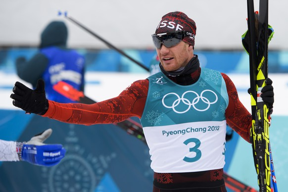 Dario Cologna of Switzerland reacts during the men Cross Country Skiing 15 km + 15 km Skiathlon during the XXIII Winter Olympics 2018 at the Alpensia Cross-Country Skiing Centre in Pyeongchang, South Korea, on Sunday, February 11, 2018. (KEYSTONE/Jean-Christophe Bott)
