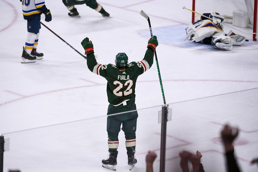 Minnesota Wild left wing Kevin Fiala (22) celebrates after