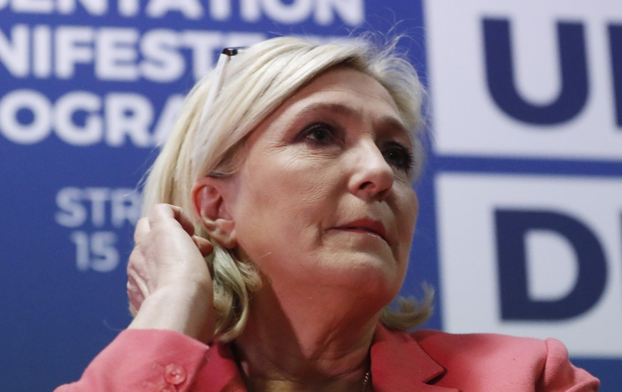 Far-right leader of the National Rally party Marine Le Pen, attends a media conference for the upcoming European elections next month in Strasbourg, eastern France, Monday, April 15, 2019. (AP Photo/Jean-Francois Badias)