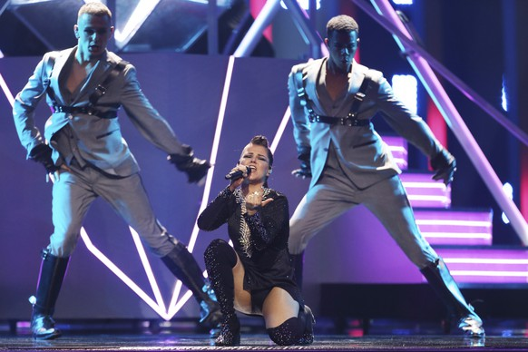 Saara Aalto from Finland performs the song 'Monsters' in Lisbon, Portugal, Friday, May 11, 2018 during a dress rehearsal for the Eurovision Song Contest. The Eurovision Song Contest grand final takes place in Lisbon on Saturday May 12, 2018. (AP Photo/Armando Franca)