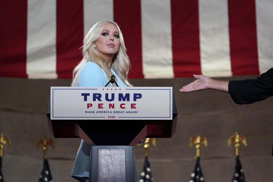 Tiffany Trump stands on stage before she tapes her speech for the second day of the Republican National Convention from the Andrew W. Mellon Auditorium in Washington, Tuesday, Aug. 25, 2020. (AP Photo/Susan Walsh) Tiffany Trump