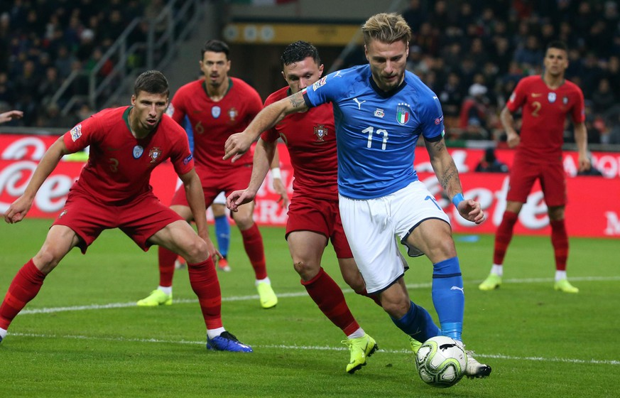 epa07173743 Italy's Ciro Immobile in action during the UEFA Nation Legaue soccer match between Italy and Portugal  at Giuseppe Meazza stadium in Milan, Italy, 17 November 2018.  EPA/MATTEO BAZZI
