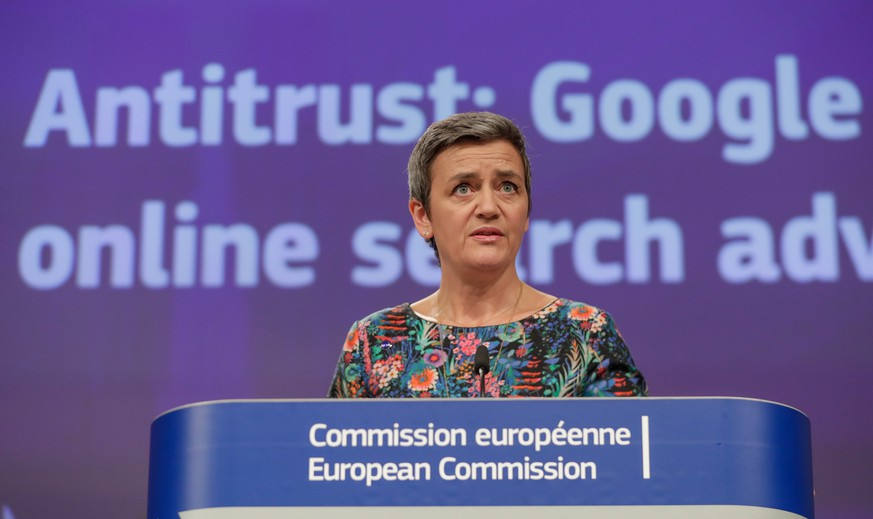 epa07450248 EU Commissioner for Competition Margrethe Vestager, from Denmark, speaks at a news conference on the concurrence case with Google online search advertising, at the European Commission in Brussels, Belgium, 20 March 2019. The EU on 20 March 2019 fined Google with a fine of 1.5 billion US dollars over search engine advertising in the 'AdSense for Search' subsection.  EPA/STEPHANIE LECOCQ