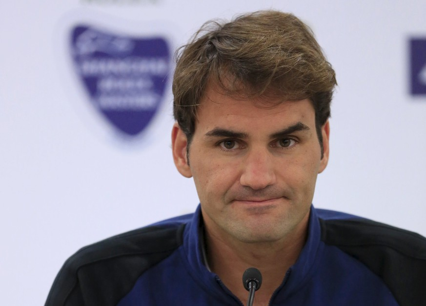 Roger Federer of Switzerland attends a pre-match news conference at the Shanghai Masters tennis tournament in Shanghai, China, October 11, 2015. REUTERS/Aly Song