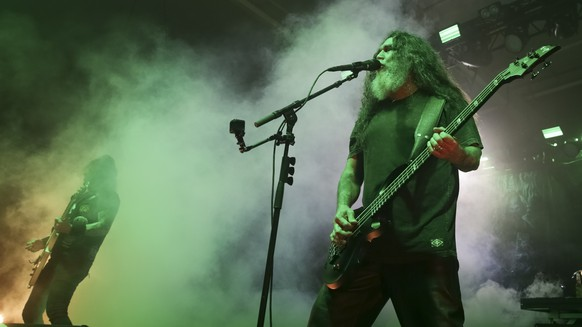 Vocalist/bassist Tom Araya, from the band Slayer, performs live on stage at Pier Six Concert Pavilion on Friday, July 28, 2017, in Baltimore, Md. (Photo by Brent N. Clarke/Invision/AP)