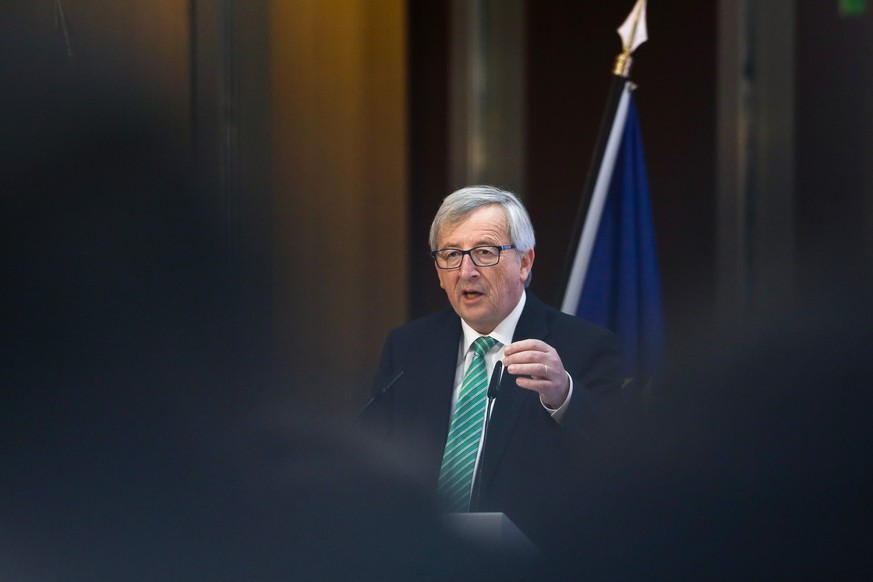 President of the European Commission Jean-Claude Juncker delivers his speech during a conference on innovation and competitiveness hosted by the European Investment Bank in Berlin, Monday, March 2, 2015. (AP Photo/Markus Schreiber)