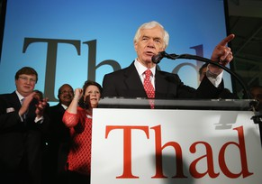 "JACKSON, MS - JUNE 24: U.S. Sen. Thad Cochran (R-MS) speaks to supporters during his ""Victory Party"" after holding on to his seat after a narrow victory over Chris McDaniel at the Mississippi Childrens Museum on June 24, 2014 in Jackson, Mississippi. Cochran, a 36-year Senate incumbent, defeated Tea Party-backed Republican candidate Mississippi State Sen. Chris McDaniel in a tight runoff race.   Justin Sullivan/Getty Images/AFP == FOR NEWSPAPERS, INTERNET, TELCOS & TELEVISION USE ONLY =="