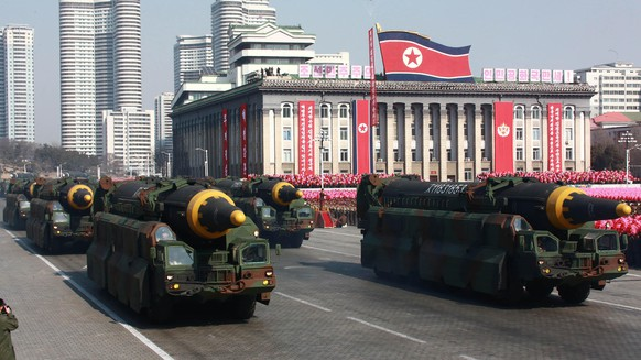 FILE - In this Feb. 8, 2018, file photo provided by the North Korean government, missiles, what North Korea calls their Hwasong-12's, are displayed during a military parade in Pyongyang, North Korea. On Aug. 29, 2017,  North Korea fires an intermediate-range Hwasong-12 that flies over Japan before plunging into the northern Pacific Ocean. Independent journalists were not given access to cover the event depicted in this image distributed by the North Korean government. The content of this image is as provided and cannot be independently verified. Korean language watermark on image as provided by source reads: