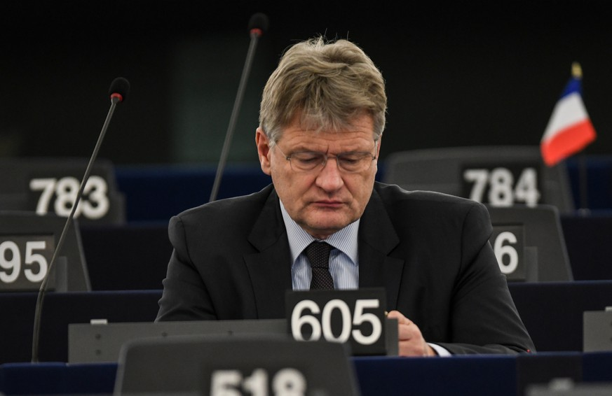 epa07285834 Alternative for Germany (AfD) party co-leader Joerg Meuthen and Member of the European Parliament listens to a speech  at the European Parliament in Strasbourg, France, 15 January 2019, at the debate on the Review of the Austrian Council Presidency.  EPA/PATRICK SEEGER