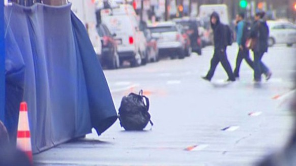 A backpack that was left unattended on Boylston Street at the finish line of the Boston Marathon is pictured in this still handout image taken from video courtesy of WBZ-TV, in Boston, Massachusetts April 15, 2014. The finish line of the Boston Marathon was evacuated on Tuesday night after two unattended backpacks were seen. 