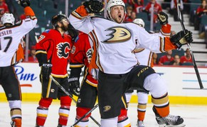 May 8, 2015; Calgary, Alberta, CAN; Anaheim Ducks left wing Matt Beleskey (39) celebrates his goal against the Calgary Flames during the third period in game four of the second round of the 2015 Stanley Cup Playoffs at Scotiabank Saddledome. Anaheim Ducks won 4-2. Mandatory Credit: Sergei Belski-USA TODAY Sports
