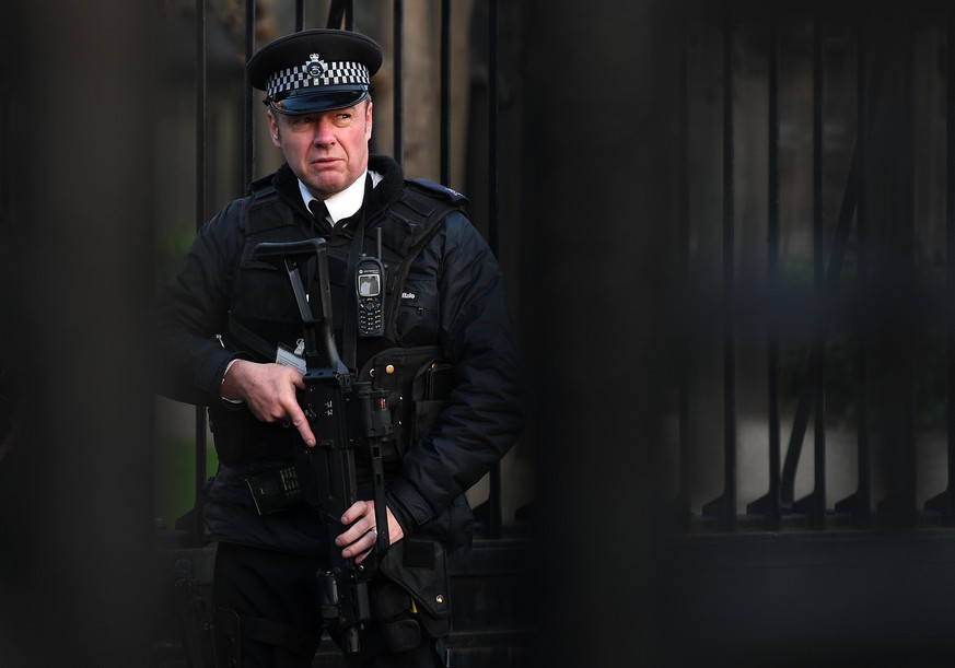 epa05868470 An armed policeman on guard behind the closed gates of Westminster Palace in London, Britain, 24 March 2017. Well-wishers have flocked to the scene of the 22 March terror attack to pay their respects to those killed in the attack. Scotland Yard said on 24 March 2017 that police have made nine arrests in relation to the terror attack in the Westminster Palace grounds and on Westminster Bridge on 22 March 2017 leaving at least five people dead, including the attacker, and 29 people injured.  EPA/ANDY RAIN